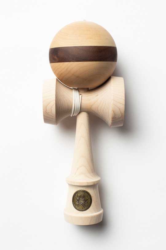 Sweets Homegrown kendama maple with walnut stripe cushion
